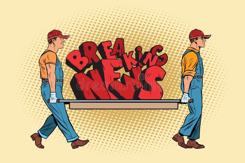 Les travailleurs de dernières nouvelles continuent une civière illustration de vecteur
