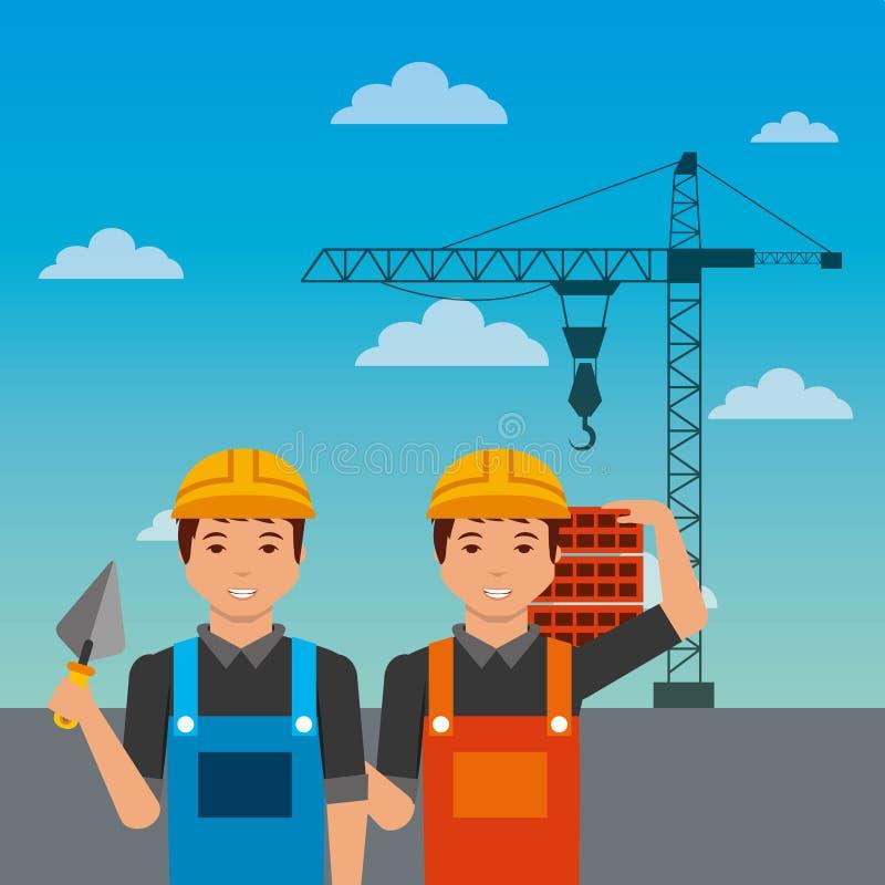 Les travailleurs de la construction avec des briques de spatule tendent le cou sur le fond de ciel illustration stock