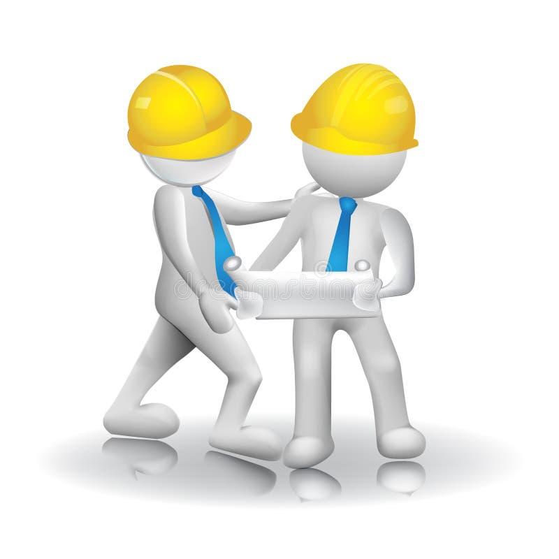 les travailleurs des architectes 3d team le vecteur de logo d'image d'icône illustration libre de droits