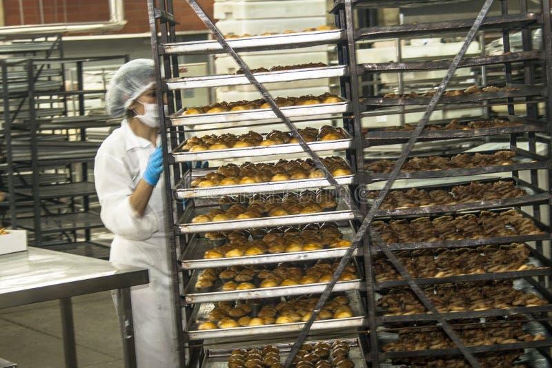 Les travailleurs travaillent dans la chaîne de production d'une industrie de pain, des gâteaux et des panettones à Sao Paulo photos libres de droits