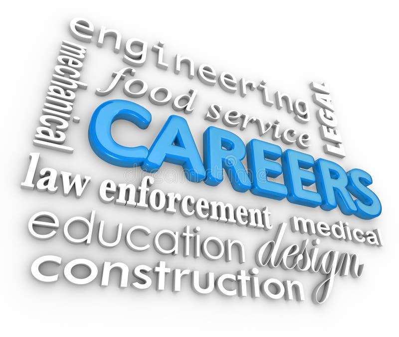 Les travaux d'arrière-plan de Word de carrières 3d choisissent la profession illustration stock