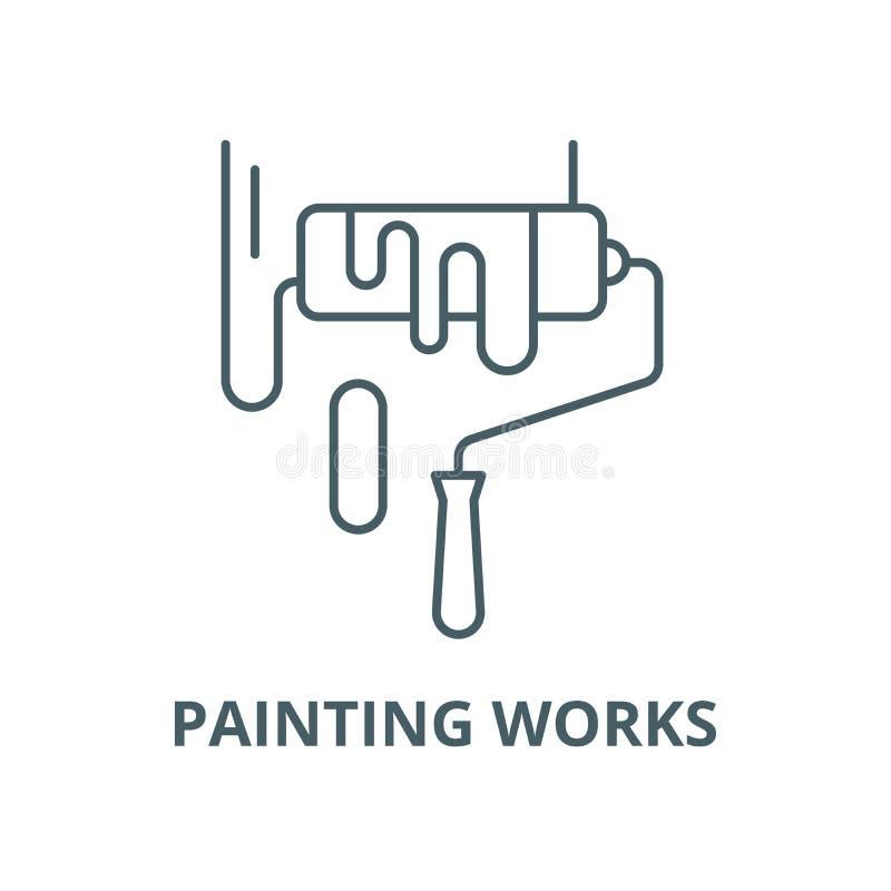 Les travaux de peinture dirigent la ligne ic?ne, concept lin?aire, signe d'ensemble, symbole illustration libre de droits