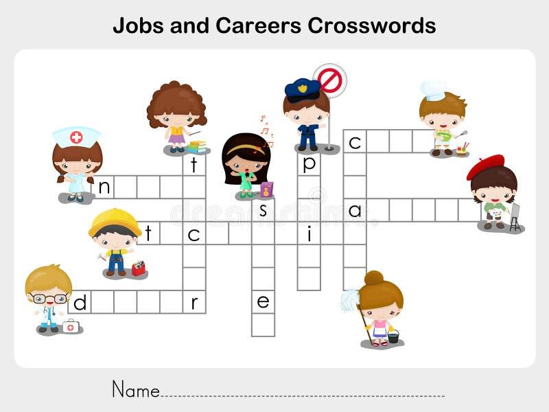 Les travaux et mots croisé de carrières - fiche de travail pour l'éducation illustration de vecteur