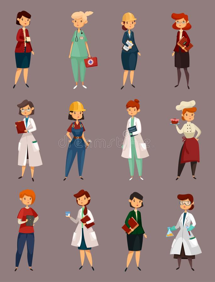 Les travaux femelle ou de femme, profession ou travail différente illustration de vecteur
