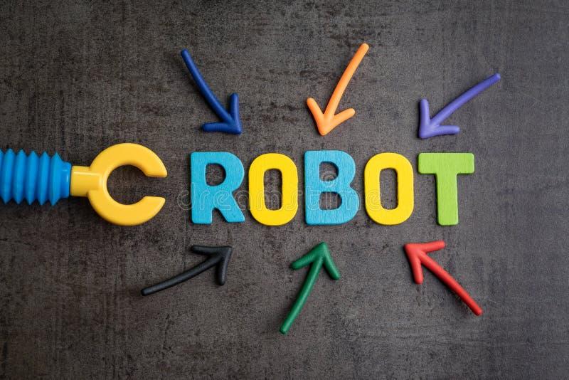 Les travaux humains remplacés par concept de robots, flèche multiple dirigeant t photos stock