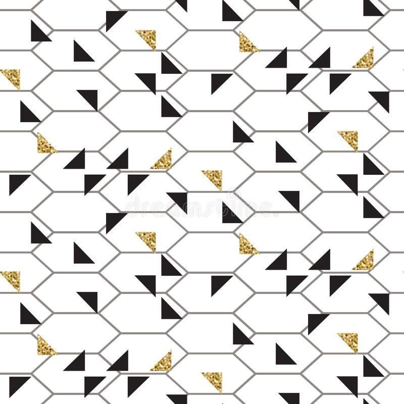 Les triangles d'or de noir et de scintillement engrènent le modèle sans couture de vecteur illustration de vecteur