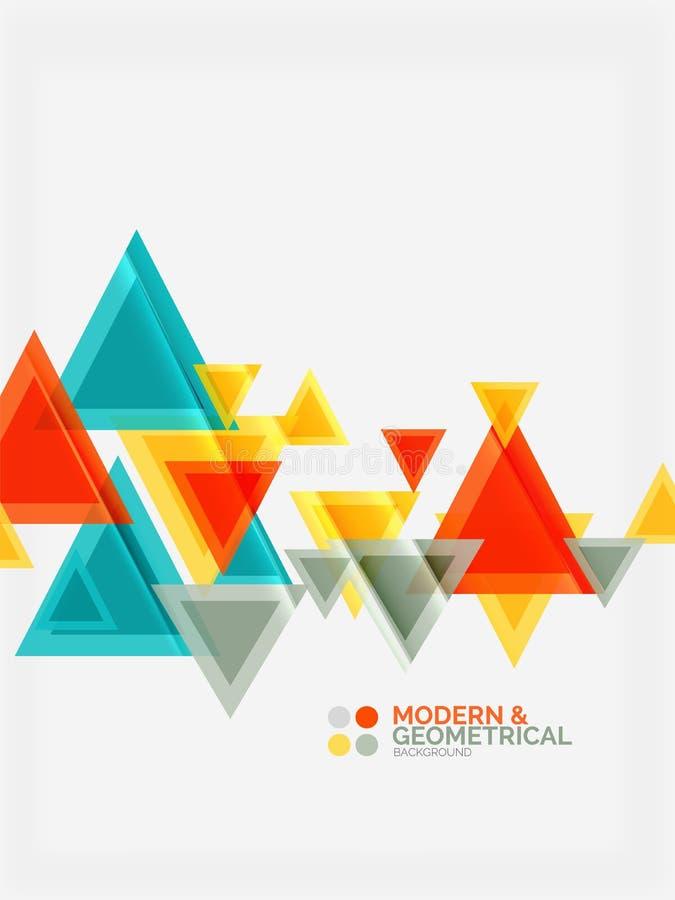Les triangles géométriques colorées modernes avec l'effet brillant brillant avec l'échantillon textotent illustration libre de droits