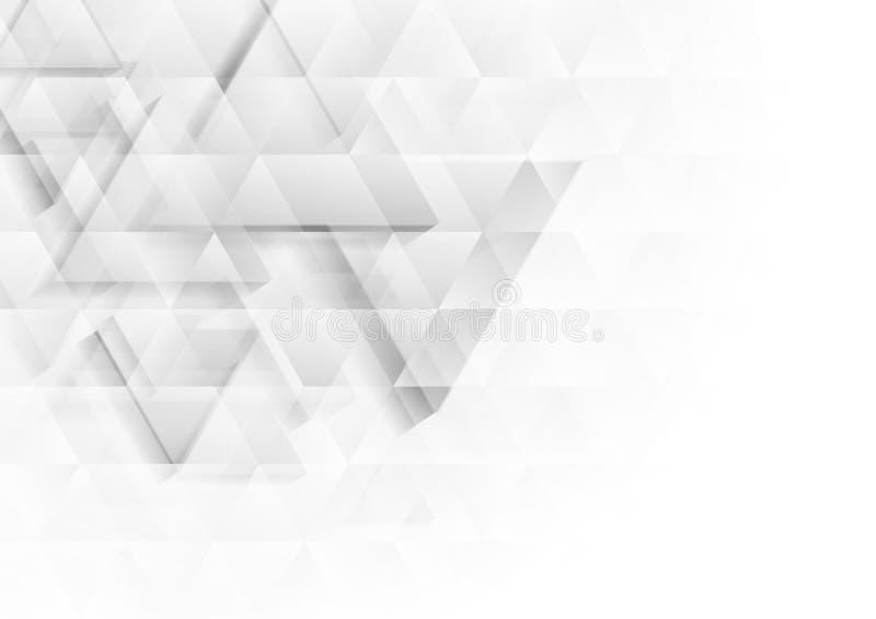 Les triangles grises et blanches de polygone de technologie donnent au fond une consistance rugueuse illustration stock