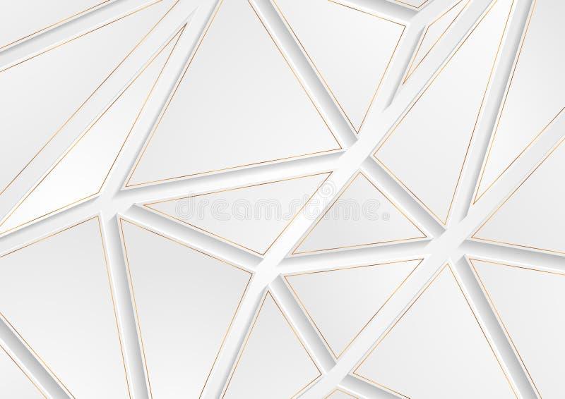 Les triangles grises et d'or de technologie soustraient le bas poly fond illustration libre de droits