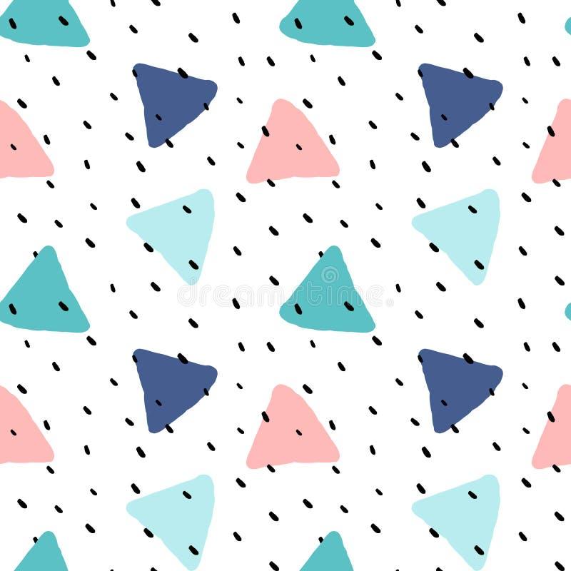 Les triangles tracées par brosse colorée mignonne avec le vecteur sans couture de point de polka modèlent l'illustration de fond illustration libre de droits
