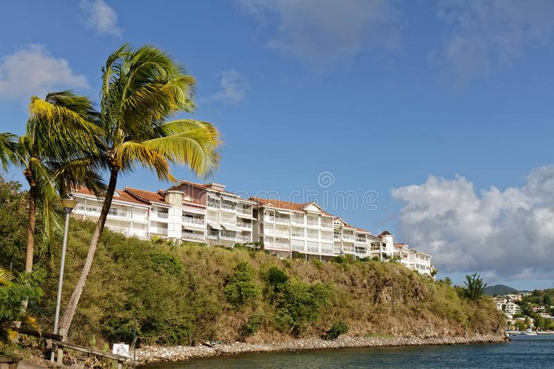 Les Trois-Ilets, Martinique, - Les Hauts-kreoler uppehåll i la Pointe du Anfall arkivbild