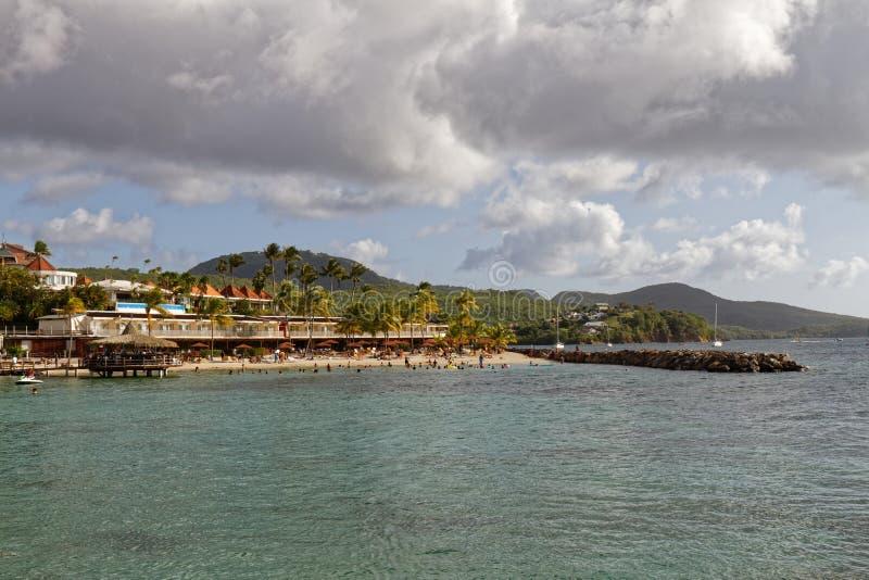 Les Trois-Ilets, Martinique - La Pointe du Anfall royaltyfri fotografi