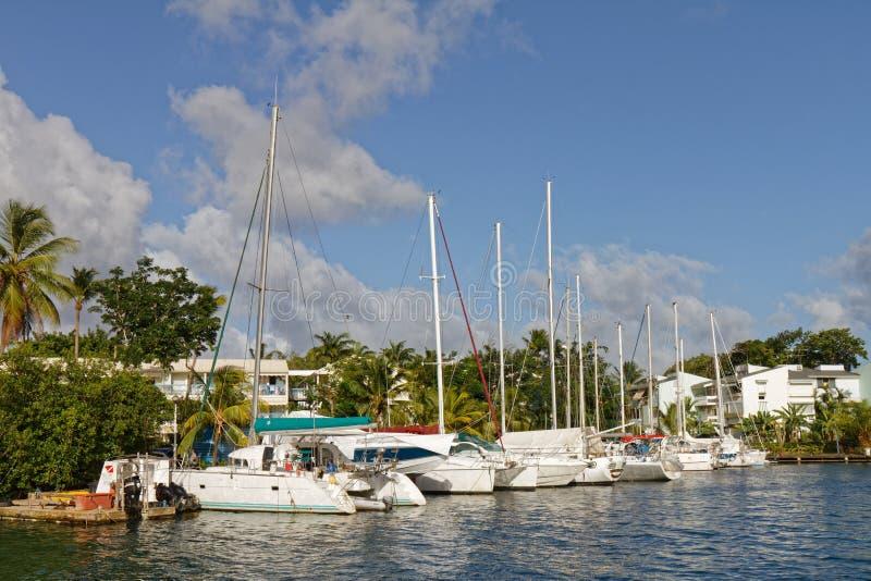 Les Trois-Ilets, Martinique - La Pointe du Anfall Marina royaltyfri fotografi
