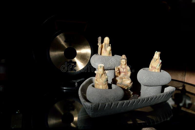 Les trois immortels chinois de l'étoile Dieux Fu Lu Shu Guan Shi Yin Sons Gong photo stock