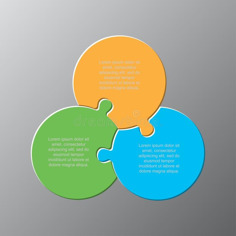 Les trois morceaux déconcertent pour l'infographics de cercles illustration stock