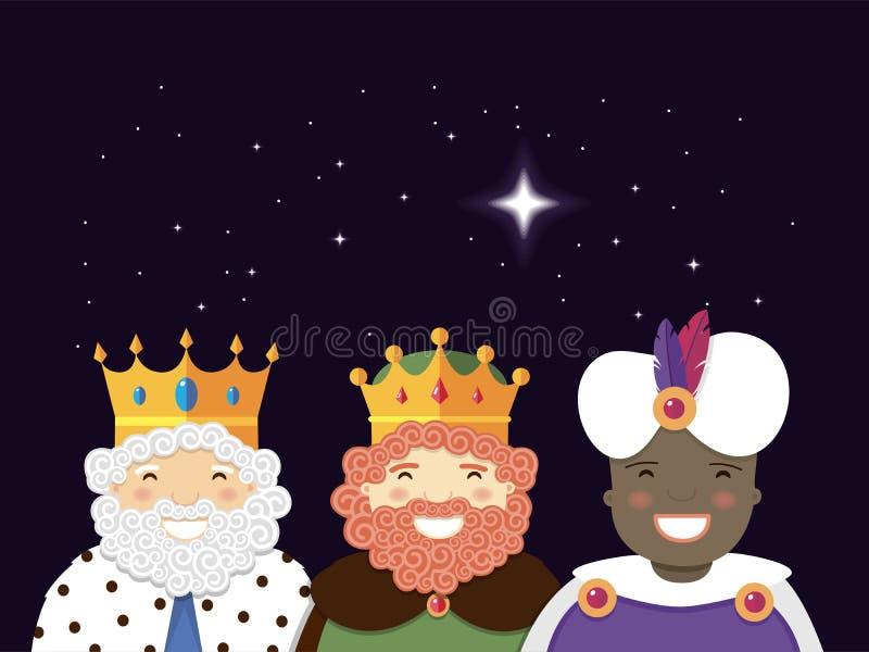 Les trois rois avec l'étoile de Noël Jour d'épiphanie illustration de vecteur