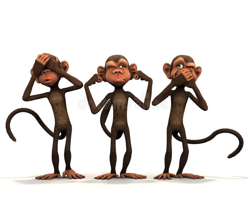 les trois singes sages illustration stock illustration du. Black Bedroom Furniture Sets. Home Design Ideas