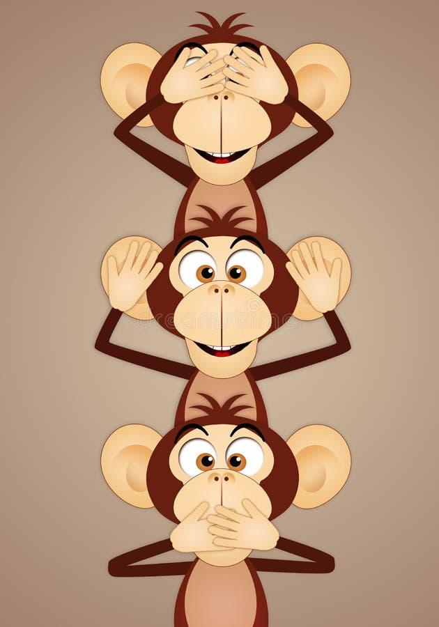 les trois singes sages illustration stock image 61719161. Black Bedroom Furniture Sets. Home Design Ideas