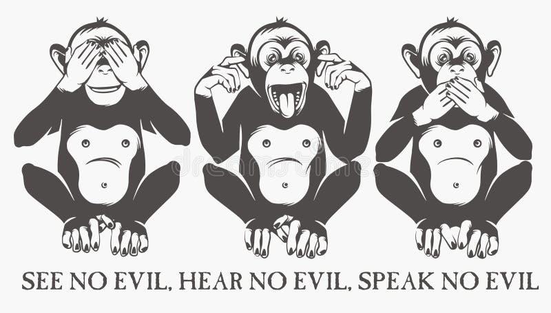 Les trois singes sages illustration stock
