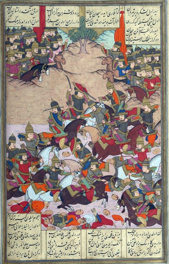 Les troupes turques attaquent les forces de Bîzhan illustration stock
