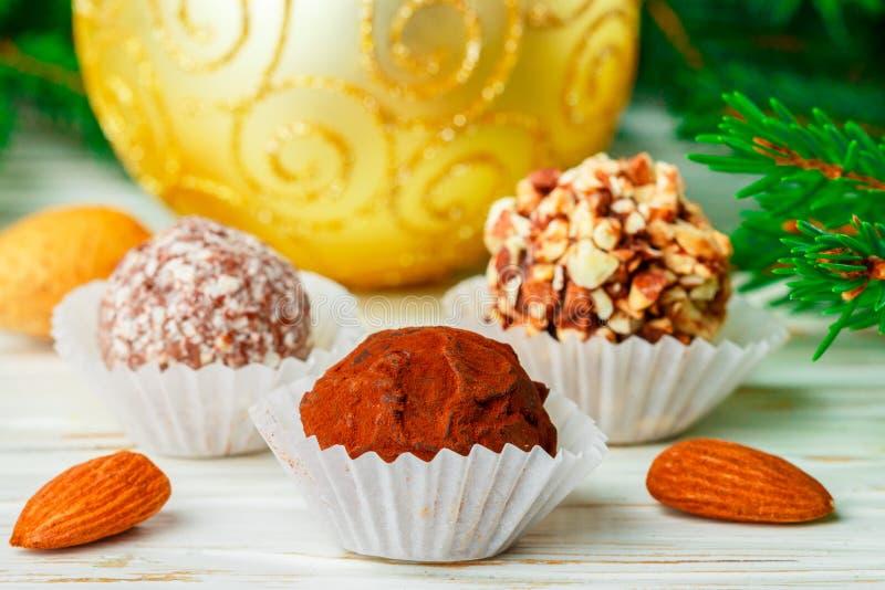 Les truffes de chocolat faites maison avec les amandes, la noix de coco et les biscuits panent images libres de droits