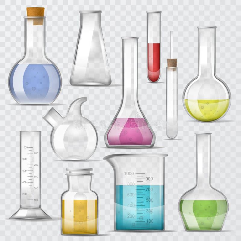 Les tubes à essai en verre chimiques de vecteur de laboratoire ont rempli de liquide pour la recherche scientifique ou l'illustra illustration libre de droits
