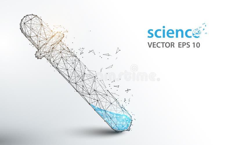 Les tubes d'essai en laboratoire de la Science forment des lignes et la conception de style de particules illustration libre de droits
