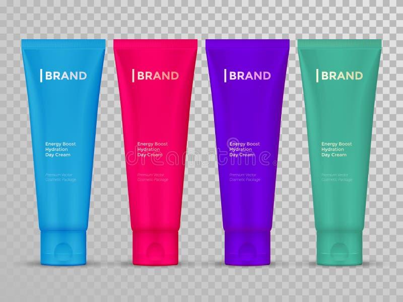 Les tubes de crème ou de lotion ont isolé le calibre cosmétique de paquet de soins de la peau de vecteur illustration stock