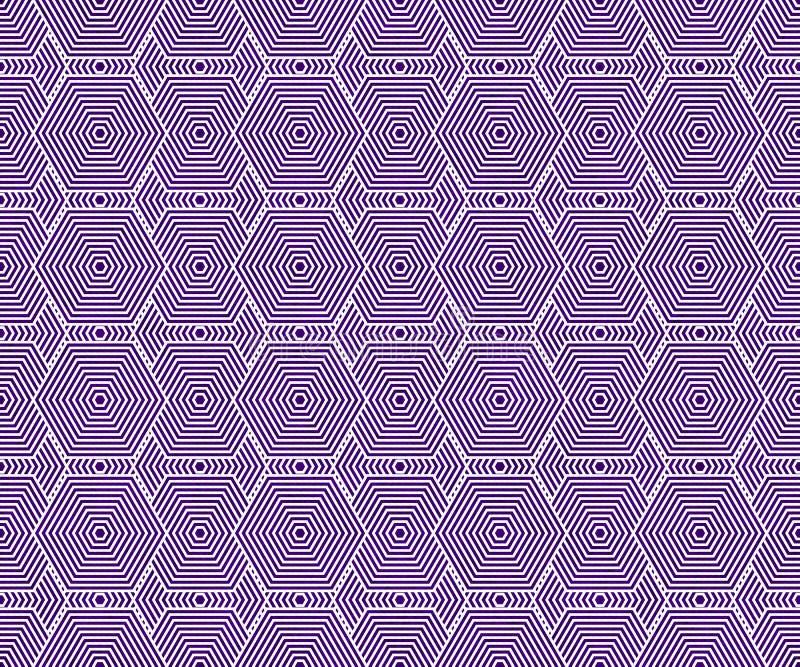 Les tuiles de pourpre et blanches d'hexagone modèlent le fond de répétition illustration de vecteur