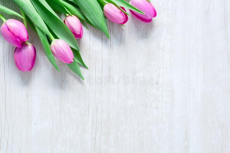 Les tulipes fleurit sur la table en bois pour le 8 mars, femmes internationales photos stock