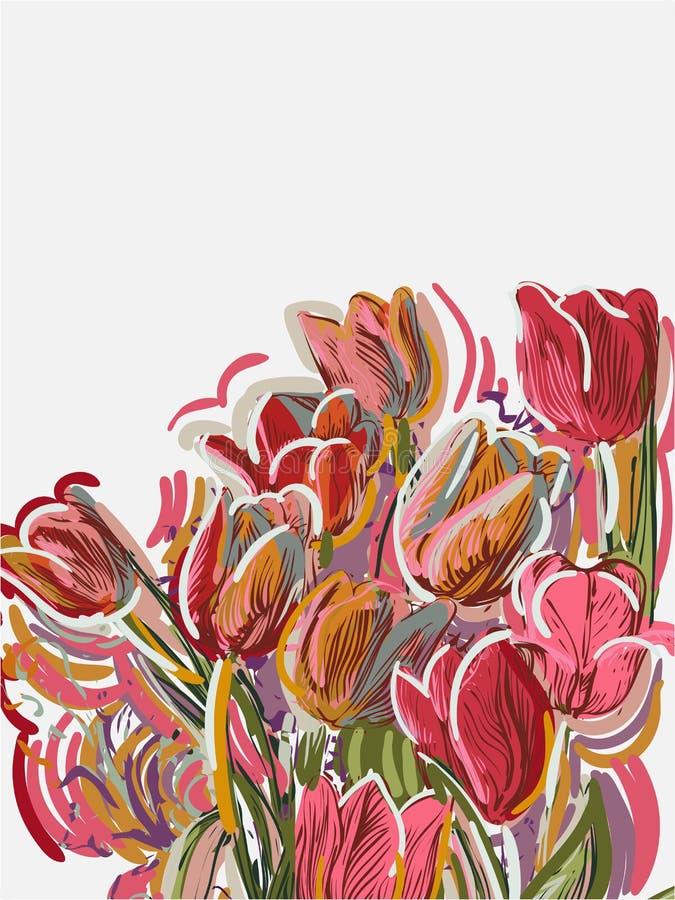 Les tulipes ont peint la carte de vecteur de style rouge-rose illustration libre de droits