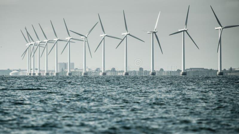 Les turbines de vent cultivent en mer baltique, Danemark photo libre de droits