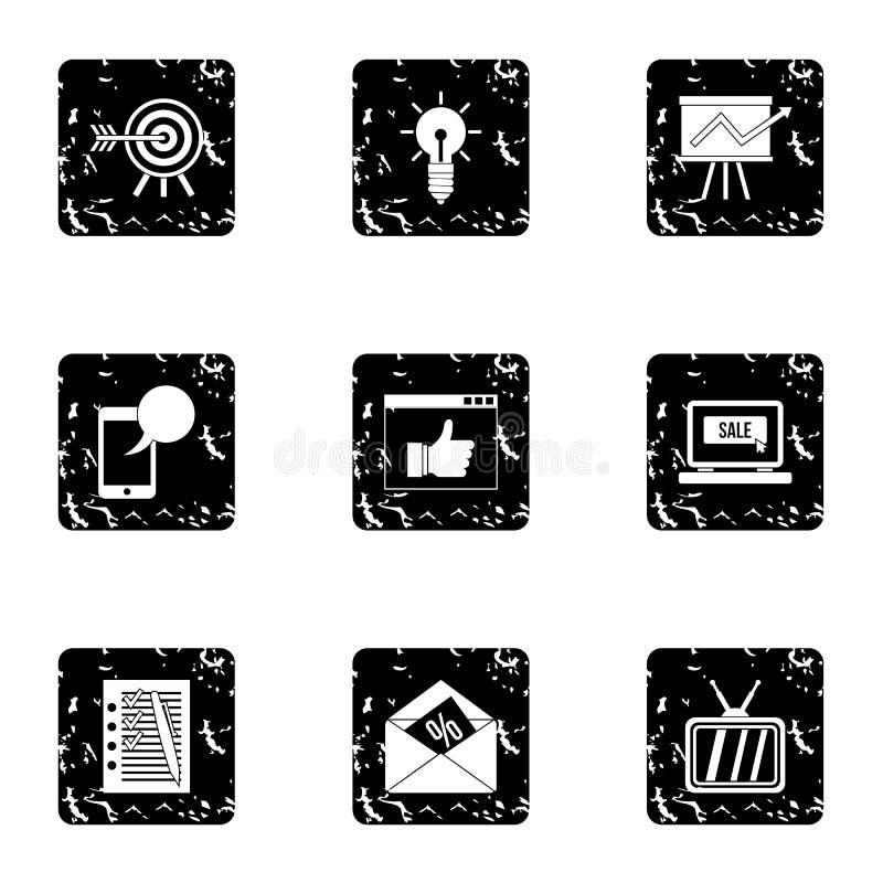 Les types d'icônes de la publicité ont placé, style grunge illustration stock