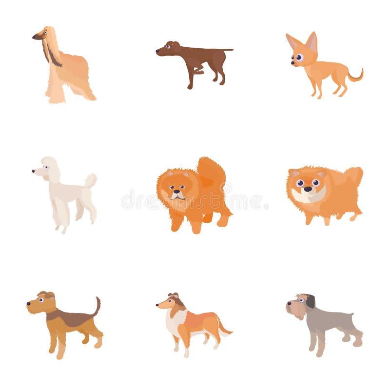 Les types d'icônes de chiens ont placé, style de bande dessinée illustration libre de droits