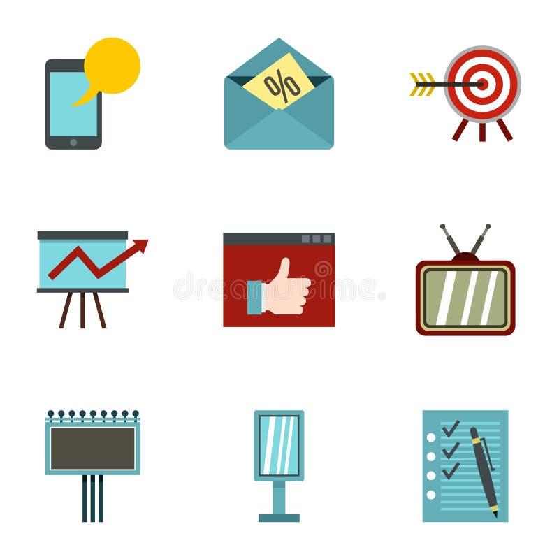 Les types d'icônes de la publicité ont placé, style plat illustration de vecteur