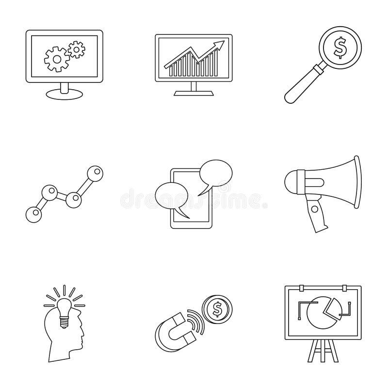 Les types d'icônes de la publicité placent, décrivent le style illustration de vecteur