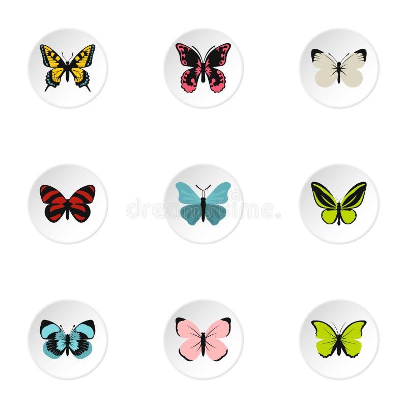 Les types d'icônes de papillons ont placé, style plat illustration libre de droits
