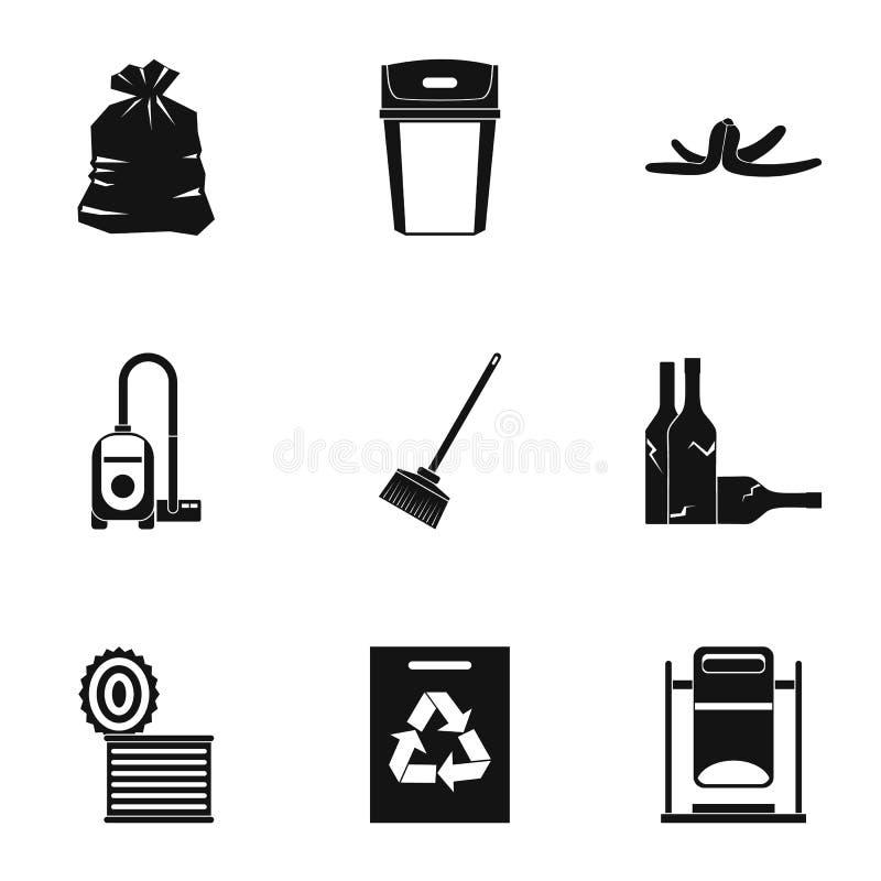 Les types d'icônes de rebut ont placé, style simple illustration libre de droits