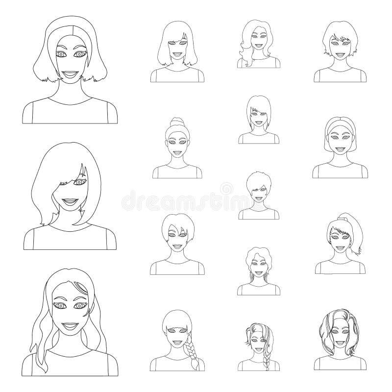 Les types de coiffures femelles décrivent des icônes dans la collection d'ensemble pour la conception Aspect d'un Web d'actions d illustration libre de droits