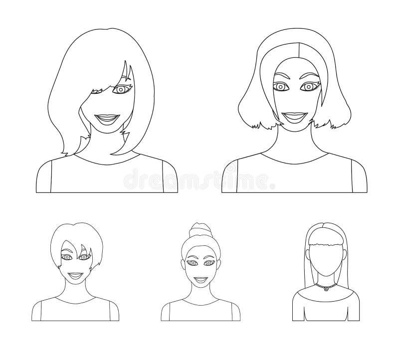 Les types de coiffures femelles décrivent des icônes dans la collection d'ensemble pour la conception Aspect d'un Web d'actions d illustration de vecteur