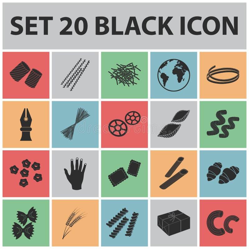 Les types de pâtes noircissent des icônes dans la collection d'ensemble pour la conception Macaronis figure pour manger le Web d' illustration libre de droits