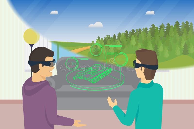 Les types heureux joue le jeu vidéo utilisant le dispositif tête-monté pour augmenté et réalité virtuelle illustration stock