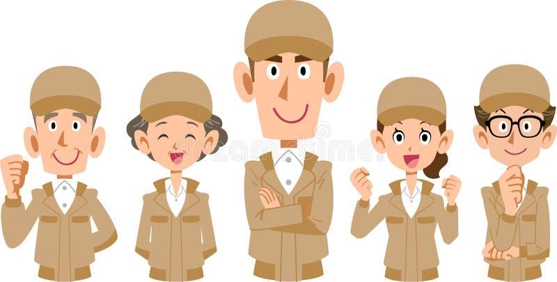 Les uniformes beiges fonctionnent le corps supérieur de _d'équipe de personnel illustration de vecteur