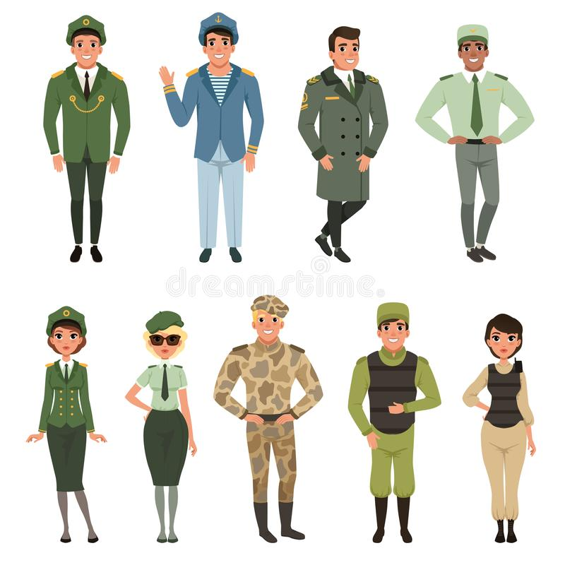 Les uniformes militaires ont placé, dirigeant d'armée militaire, commandant, soldat, pilote, soldat de la cavalerie, illustration illustration libre de droits
