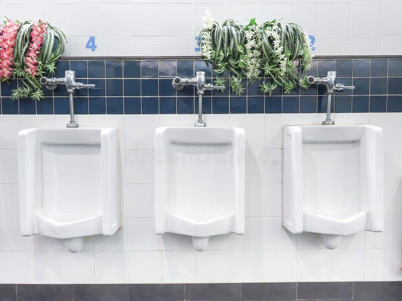Les urinoirs en céramique blancs pas propres pour les hommes avec la fleur décorent image stock