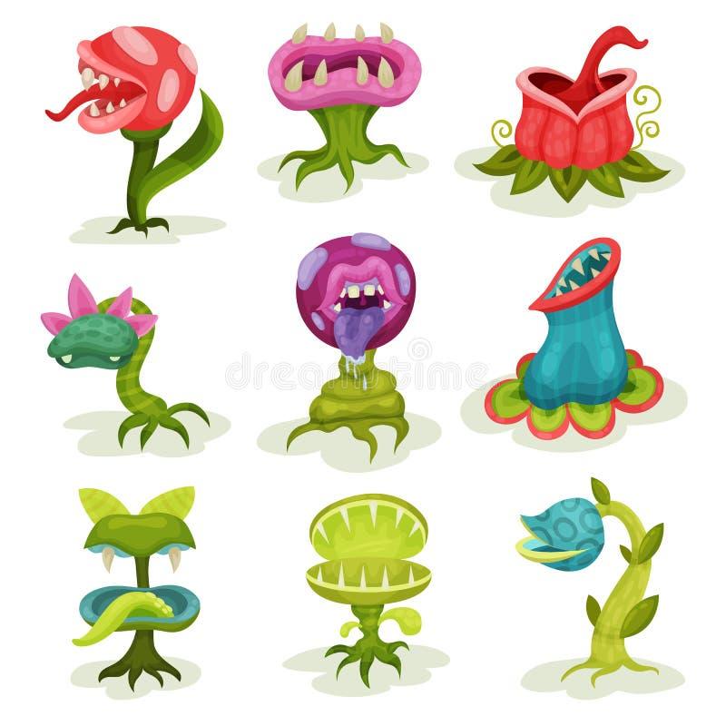 Les usines de carnivore ont placé, les fleurs malveillantes fantastiques colorées de tueur avec des illustrations de vecteur de d illustration libre de droits