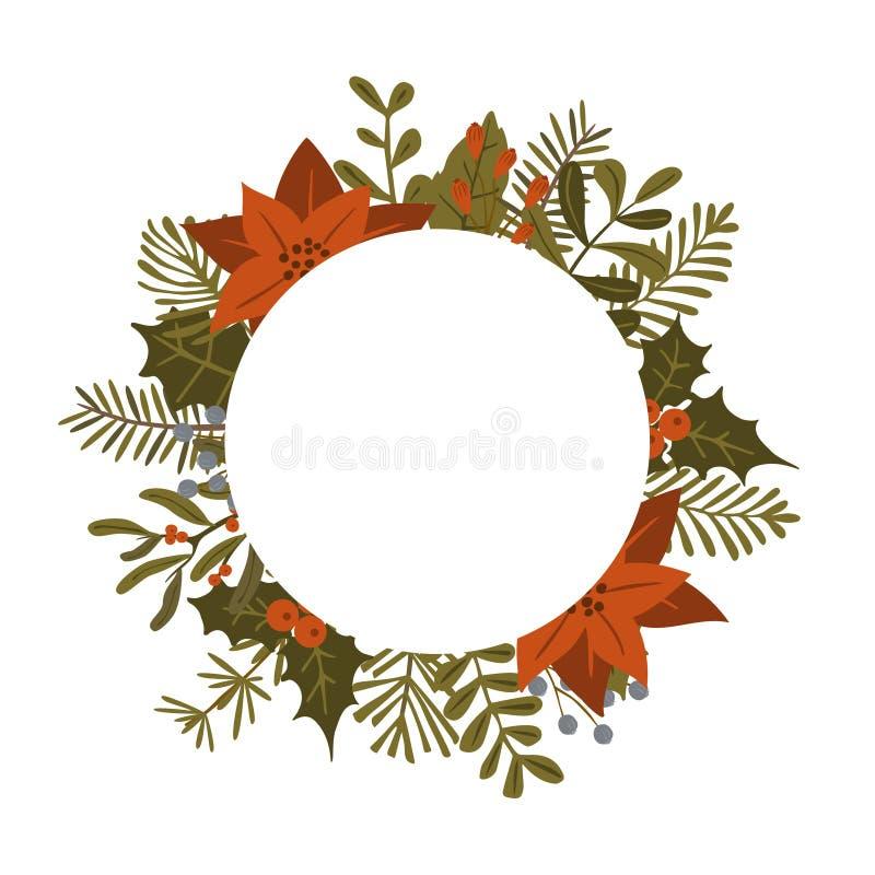 Les usines de feuillage d'hiver de Noël, fleurs de poinsettia laisse des branches, les baies rouges entourent le calibre rond de  illustration libre de droits
