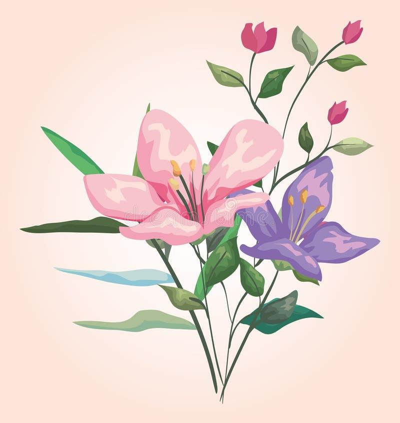 Les usines de fleurs avec les branches exotiques part de la conception illustration libre de droits