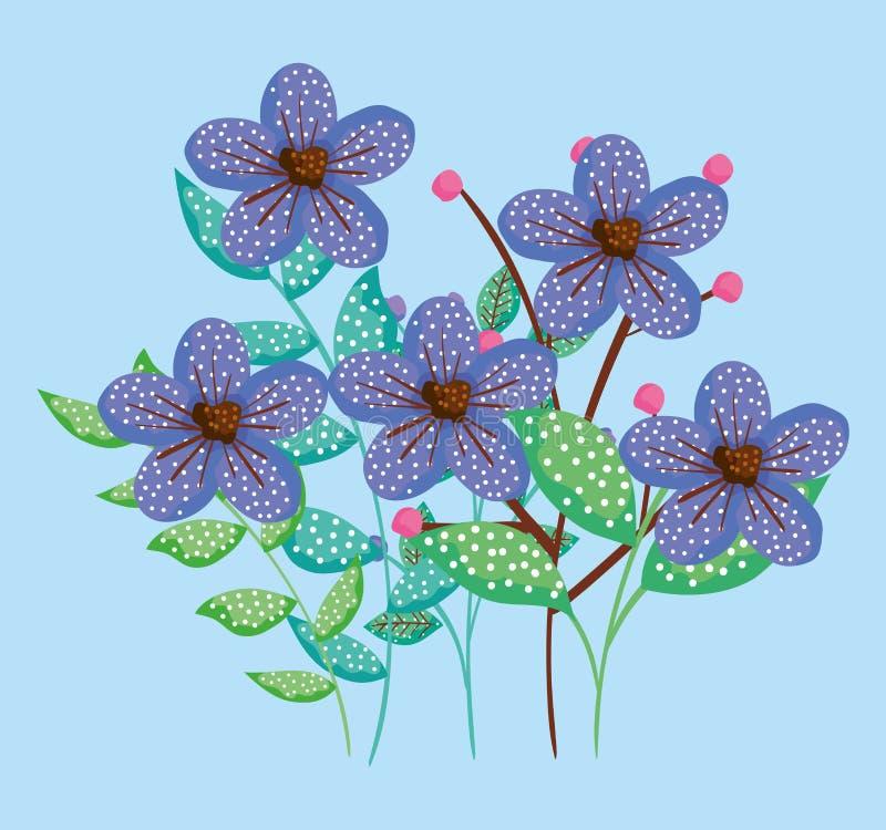 Les usines de fleurs de nature avec les feuilles exotiques conçoivent illustration libre de droits