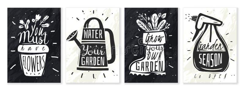 Les usines de jardin marquent l'ensemble à la craie d'affiches illustration de vecteur